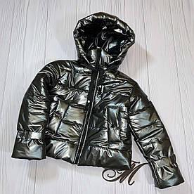 Куртка деми на девочку подростка Оверсайз кожа графит 134