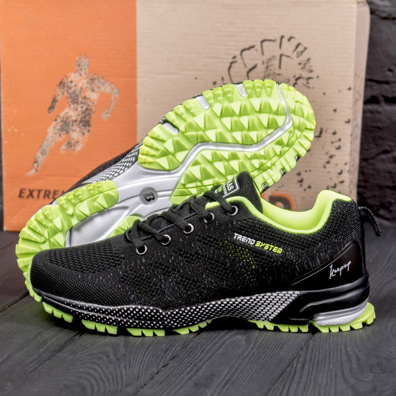 Спортивные мужские кроссовки из кожи с текстильным верхом BS TREND SYSTEM  Black