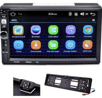 Автомагнитола 2Din Android с камерой в Led рамке номера 8702 GPS WI-FI Bluetooth USB SD