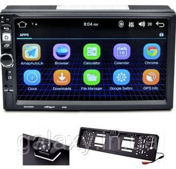Магнитола 8702 Android c GPS WI-FI с камерой в рамке номера автомагнитола андроид два дин