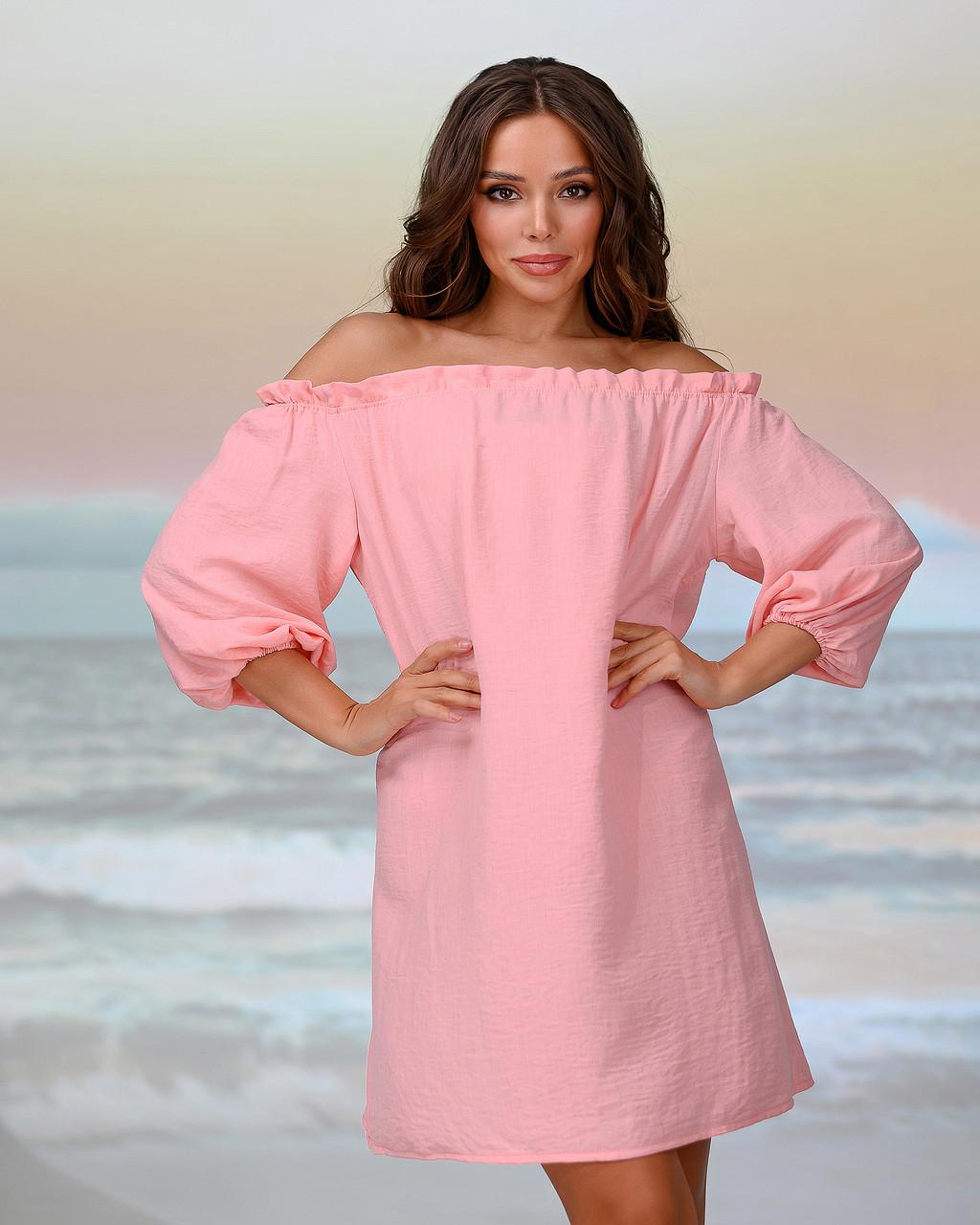 Короткая пляжная туника со спущенными плечами . Цвет персик. Размер 42-44