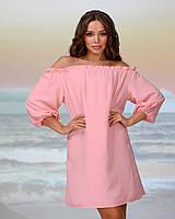Короткая пляжная туника со спущенными плечами . Цвет персик. Размер 42-44, фото 1