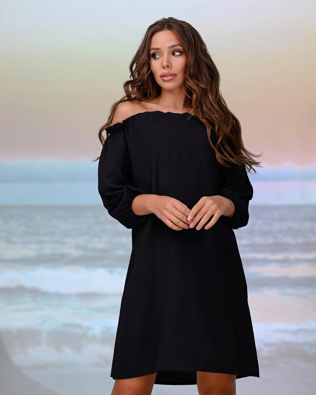 Короткая пляжная туника со спущенными плечами . Цвет черный. Размер 46-48