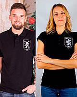 Парні футболки поло Галицький Лев ,чорні, 2 дорослі