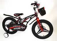 """Дитячий велосипед Mars 18"""" чорно-червоний магнієва рама"""