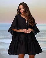 Короткая пляжная туника с макраме . Цвет черный. Размер 46-48