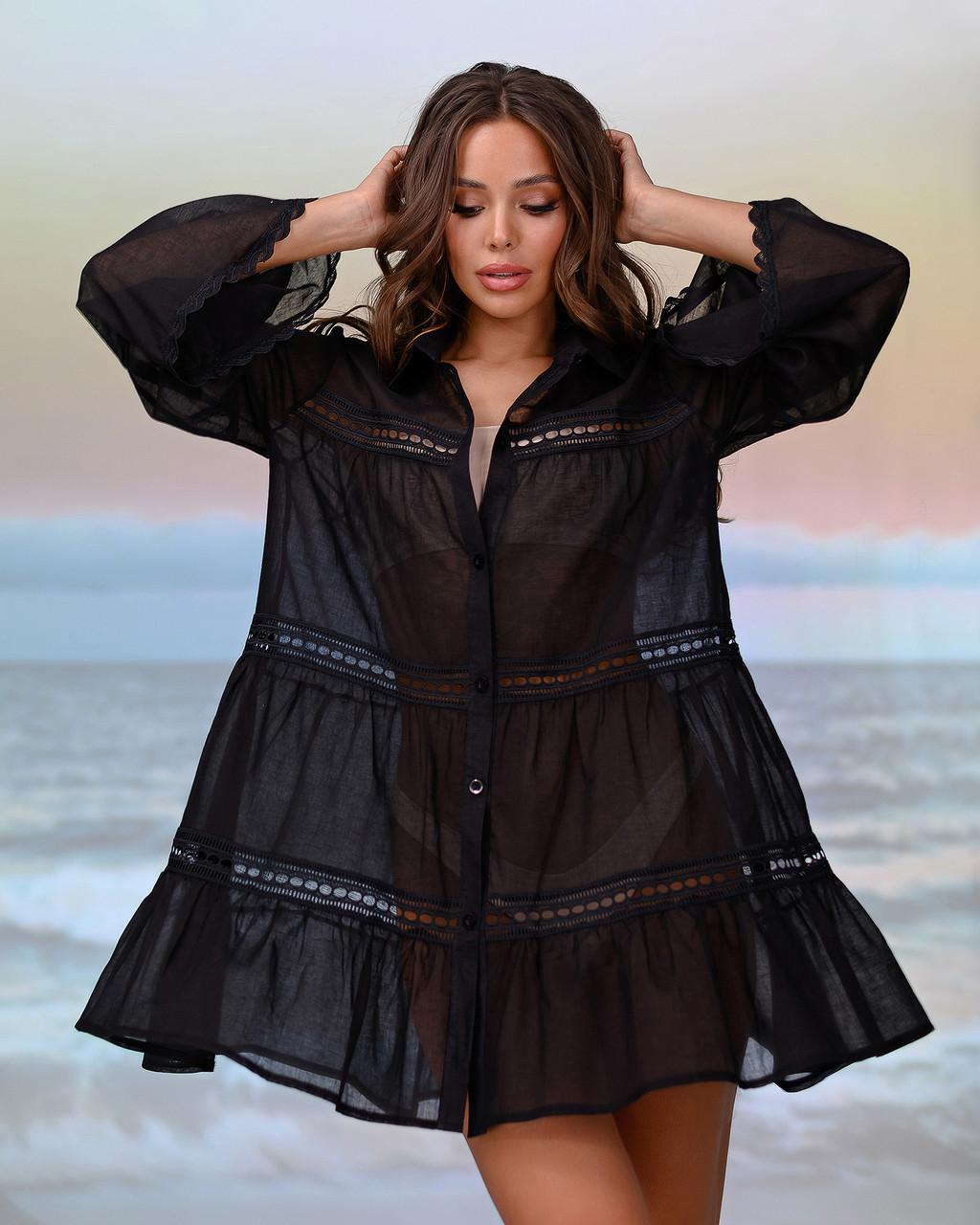 Туніка пляжна з вставками з макраме, колір - чорний. Розмір 42-48