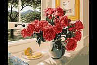 Картина по номерам на холсте Розы на подоконнике 40х50 с подрамником