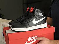 Мужские демисезонные высокие кроссовки в стиле Nike Air Jordan, черные с белым