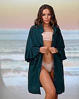 Короткая пляжная туника-рубашка. Цвет изумруд . Размер 46-48, фото 1