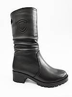 Женские кожаные полусапожки зимние с мехом на низком каблуке сапоги модные стильные 41 размер Romax 507