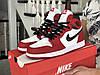 Мужские демисезонные высокие кроссовки в стиле Nike Air Jordan, красные с белым \ черным Найк Аир Джордан