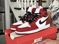 Мужские демисезонные высокие кроссовки в стиле Nike Air Jordan, красные с белым \ черным Найк Аир Джордан, фото 1