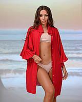 Коротка пляжна туніка-сорочка. Колір червоний. Розмір 46-48, фото 1