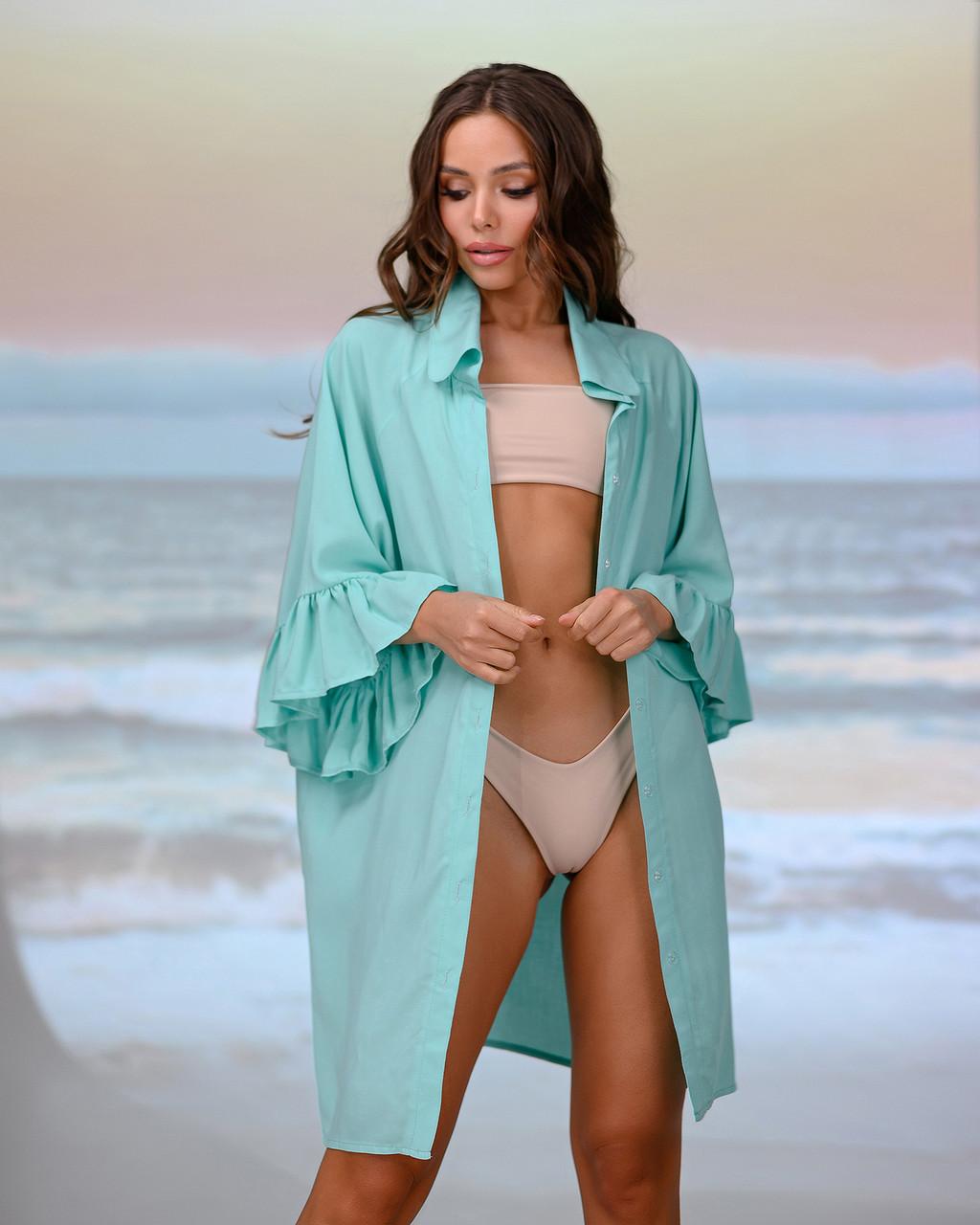 Коротка пляжна туніка-сорочка. Колір м'ята. Розмір 42-44