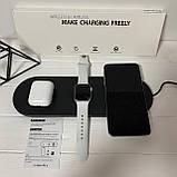 Бездротова зарядка Wireless Charger 3in1 Док станція Зарядний пристрій Акумулятор для гаджетів, фото 6
