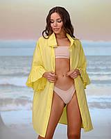 Коротка пляжна туніка-сорочка. Колір-жовтий. Розмір 42-44, фото 1