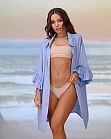 Короткая пляжная туника-рубашка. Цвет голубой. Размер 42-44, фото 1