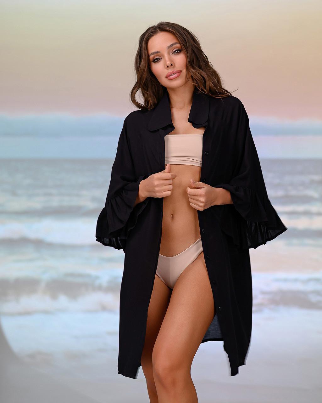 Короткая пляжная туника-рубашка. Цвет черный. Размер 42-44