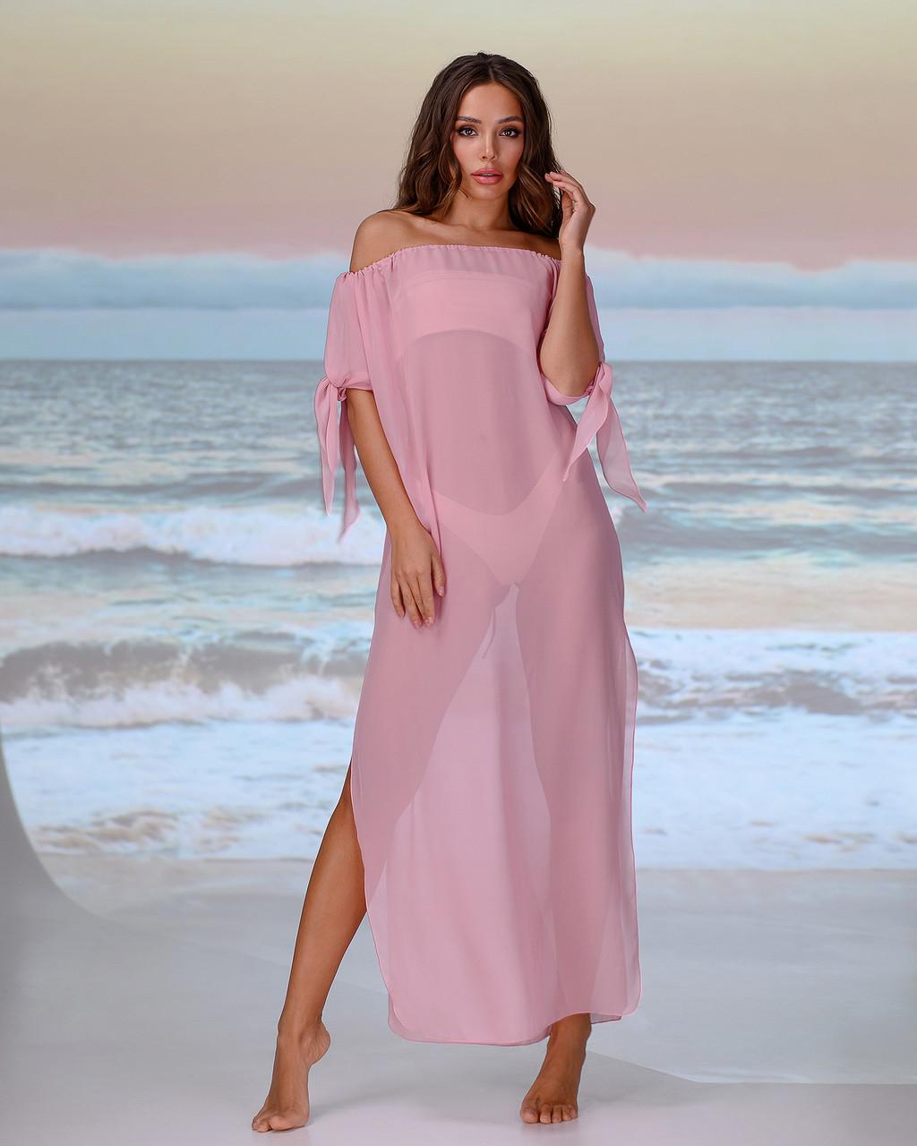 Длинная пляжная туника со спущенными плечами размер 46-48р. цвет пудра