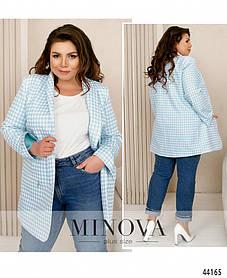 Довгий жіночий піджак блакитного кольору в принт, великого розміру від 48 до 62