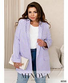 Подовжений жіночий класичний піджак бузкового кольору, великого розміру від 48 до 62