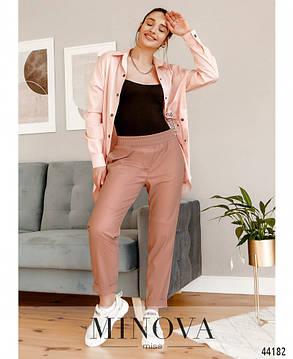 Ультрамодные женские брюки из эко-кожи цвет пудра, размер от 42 до 48, фото 2