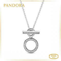 """Пандора Колье """"Логомания"""" с двойным кольцом и T-подвеской Pandora 399039C01-45"""