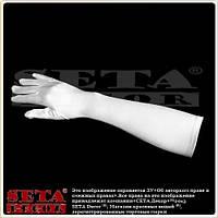 Белые длинные атласные перчатки