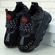 Мужские кроссовки в стиле Versace Chain Reaction, черный, Италия