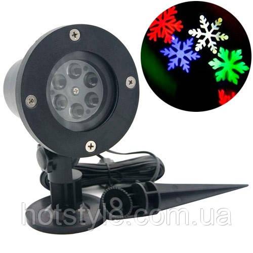 Лазерный проектор новогодний уличный Снежинки RGBW LED WL-602 садовый, 103096