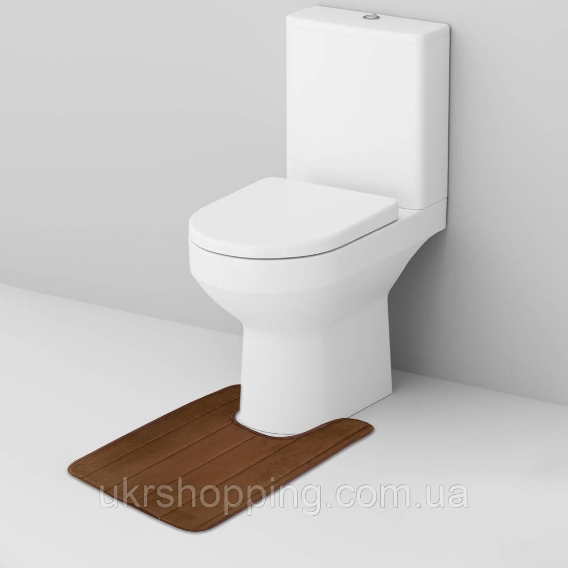 Tуалетный U-образный коврик с вырезом под унитаз для туалета (коричневый, 59х40 см) в туалет (SH)