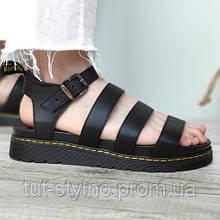 Женские сандалии в стиле Dr. Martens Blaire Hydro Leather Gladiator Sandals, натуральная кожа, черный, Вьетнам