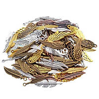 Набор из 100 металлических подвесок шармов шармиков, крылья, 100697