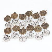 Набор из 24 металлических подвесок шармов шармиков, знаки зодиака, 100699