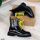 ТОЛЬКО 36,37,41 р!!! Женские ботинки ДЕМИ черные с желтым эко лак весна /осень, фото 2