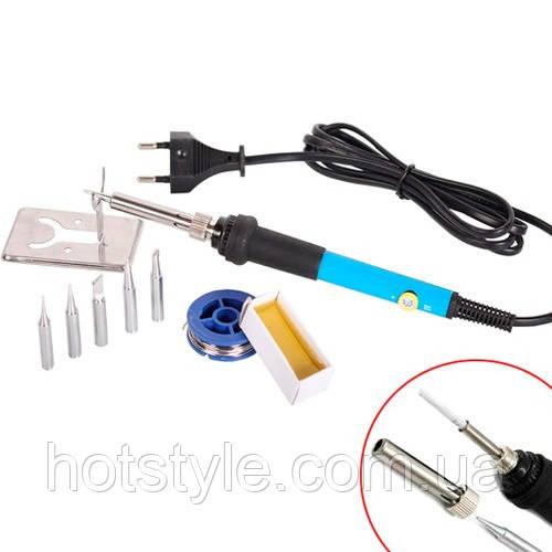 Паяльник електричний регульований 220В 60Вт 200-450C + комплектуючі, 103064