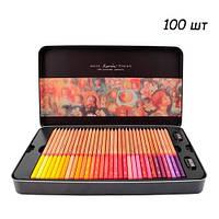 Набор разноцветных карандашей 100 шт, металлический кейс Marco Renoir, 100849