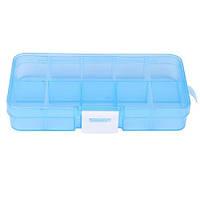 Коробка органайзер кейс для снастей бисера 125х63х22мм 10 ячеек голубой, 100625