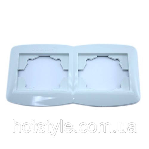 Рамка подвійна для розеток, горизонтальна, біла Desant D-322