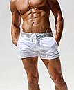 Пляжні шорти AQUX білого кольору з срібним поясом, фото 4