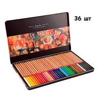 Набор разноцветных карандашей 36 шт, металлический кейс Marco Renoir, 100784