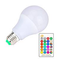 Светодиодная E27 LED RGB 10Вт лампа, 16 цветов с пультом ДУ, 104881