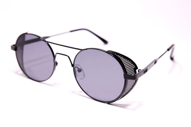Женские солнцезащитные круглые очки стимпанк Диор 019 C1 реплика Черные