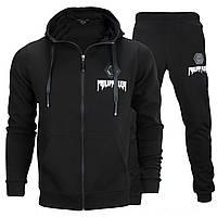 Спортивный костюм весна-осень черный PHILIPP PLEIN К-410 с капюшоном BLK L(Р) 21-668-004