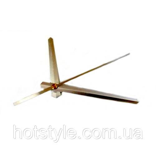Стрелки для часов, часового механизма, комплект из 3 стрелок, серебристые, 105394