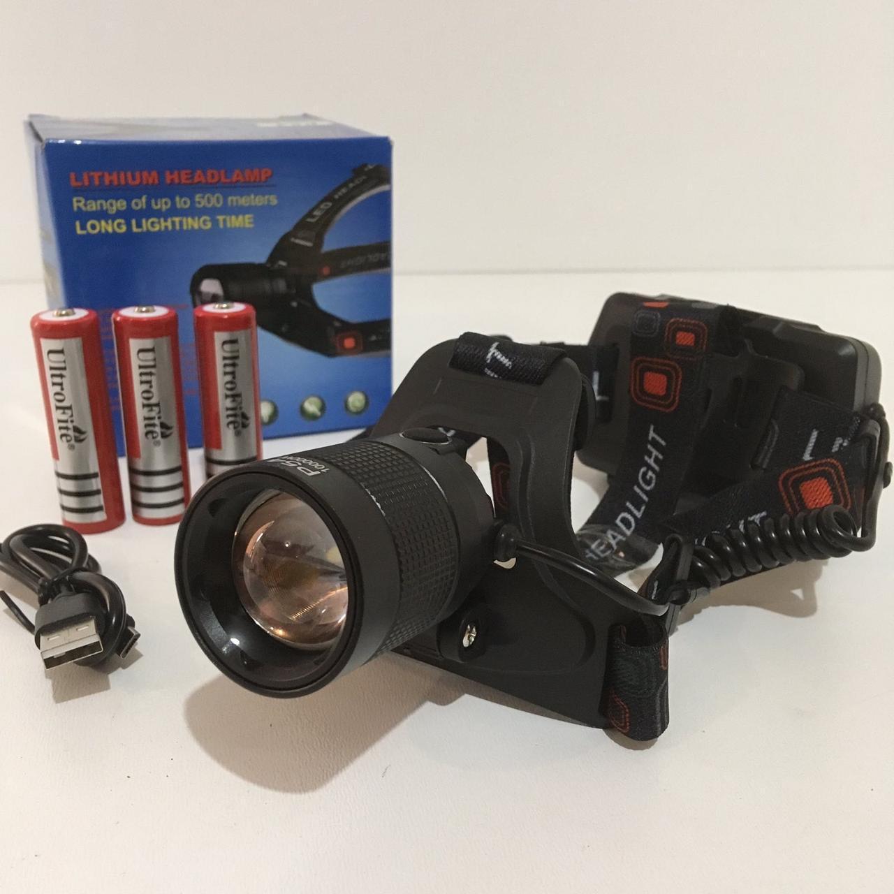 Фонарь налобный с Повербанком диод XHP-50 USB