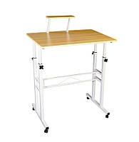 Компьютерный стол с регулируемой высотой модель С33, столик для ноутбука на колесиках | комп'ютерний стіл