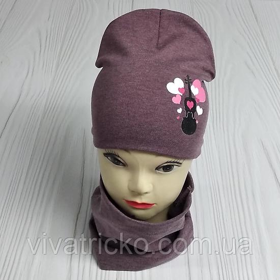 """М 4560. Комплект для девочек  шапка двойная и хомут """"скрипка"""" Vivatricko, 3-8 лет, разные цвета"""