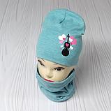 """М 4560. Комплект для девочек  шапка двойная и хомут """"скрипка"""" Vivatricko, 3-8 лет, разные цвета, фото 2"""